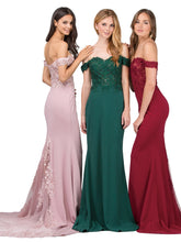 Dancing Queen DQ 2274 - Off-the-Shoulder Fit & Flare with  Appliqué Bodice & Train - Diggz Prom