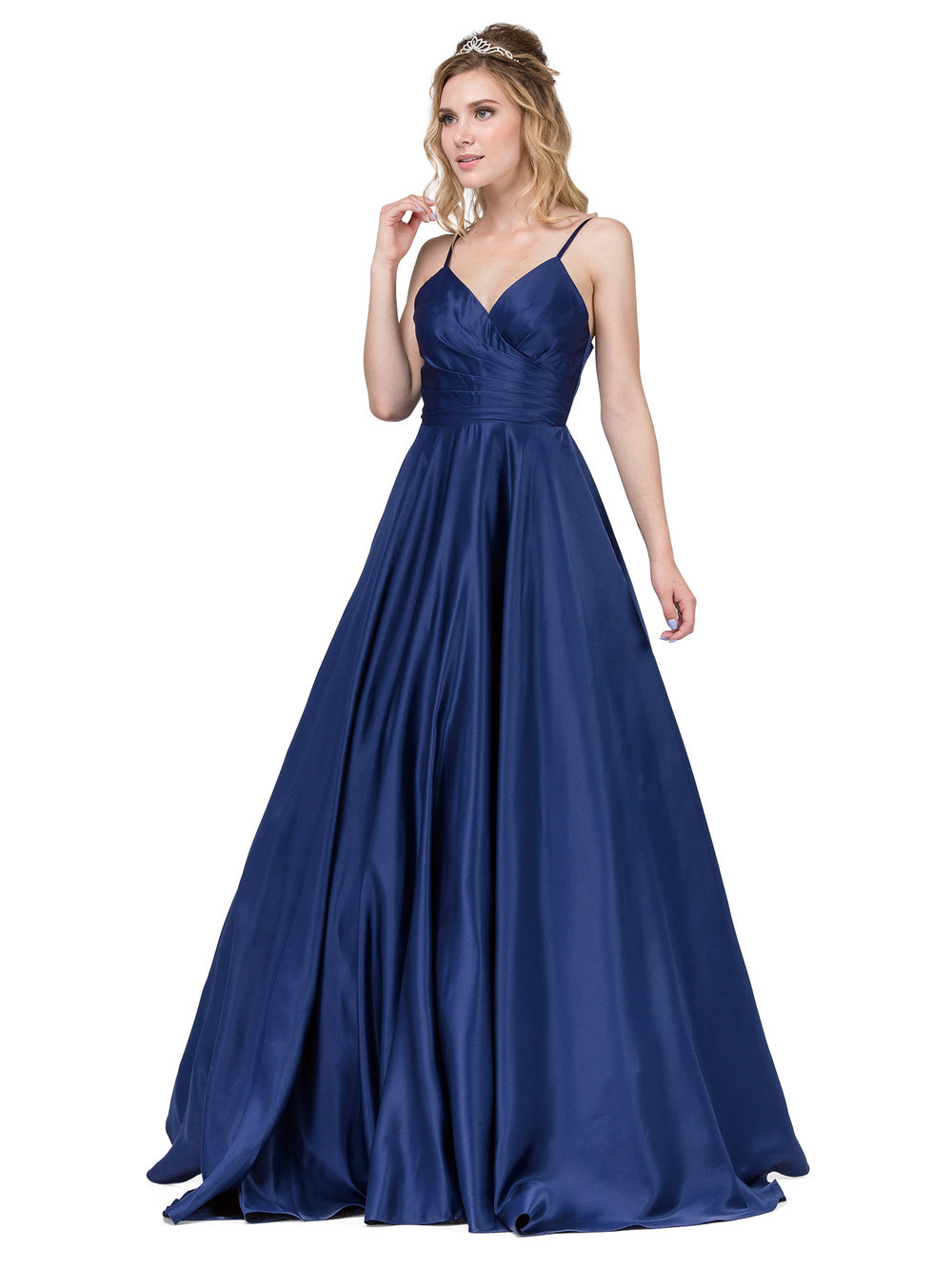 Dancing Queen DQ 2339 - A-Line Ruched Sweetheart Ballgown with Satin Skirt & Pockets - Diggz Prom