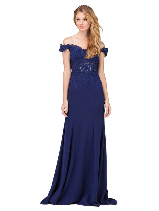 Dancing Queen DQ 2358 - Lace Cut-Out Off-the-Shoulder Fit & Flare with Jersey Skirt - Diggz Prom