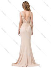 Dancing Queen DQ 2392 - Embellished Lace V-Neck Fit & Flare with Jersey Skirt - Diggz Prom