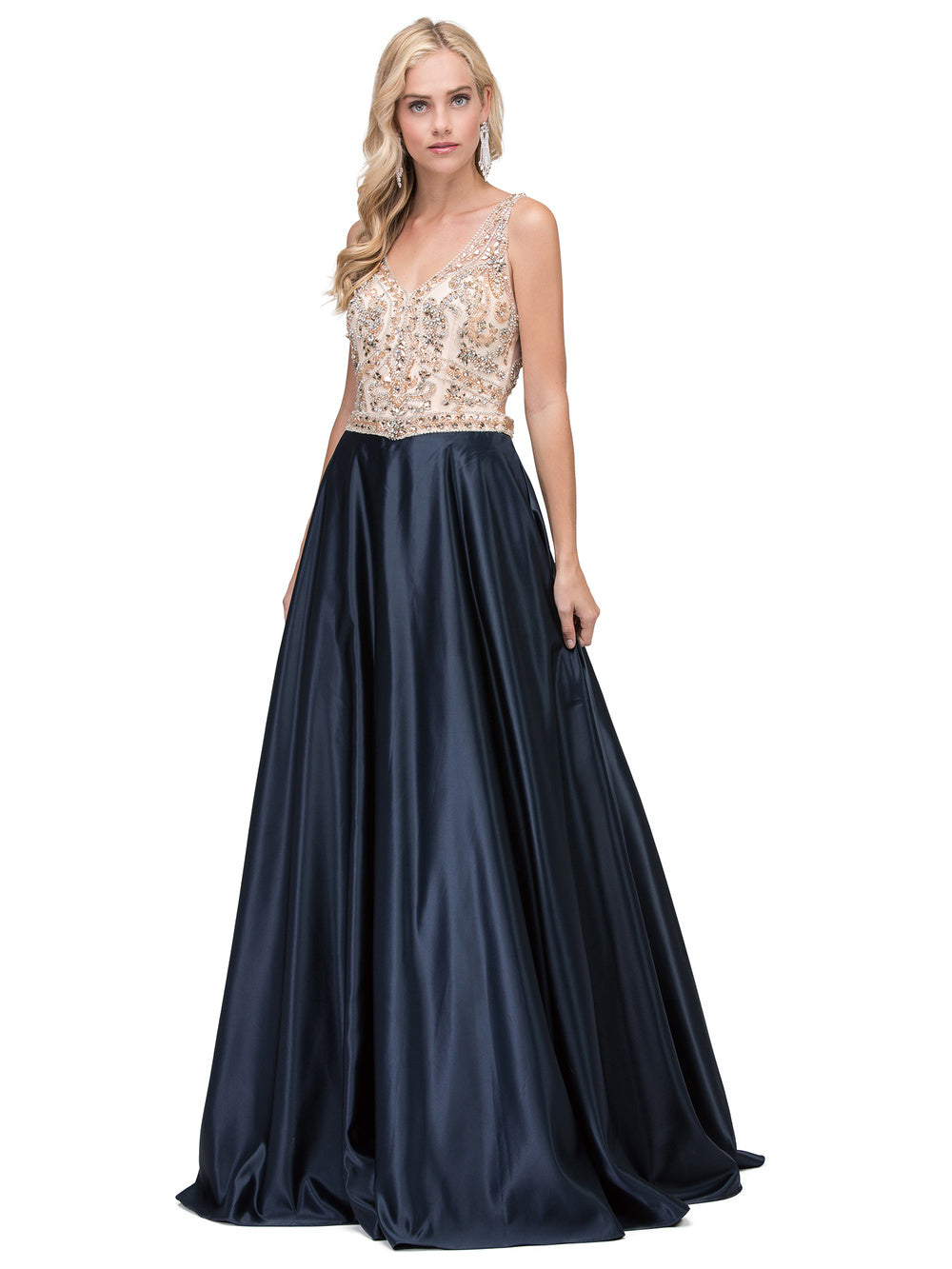 Dancing Queen DQ 2416 - A-Line with Plunging Beaded V-Neck & Satin Skirt - Diggz Prom