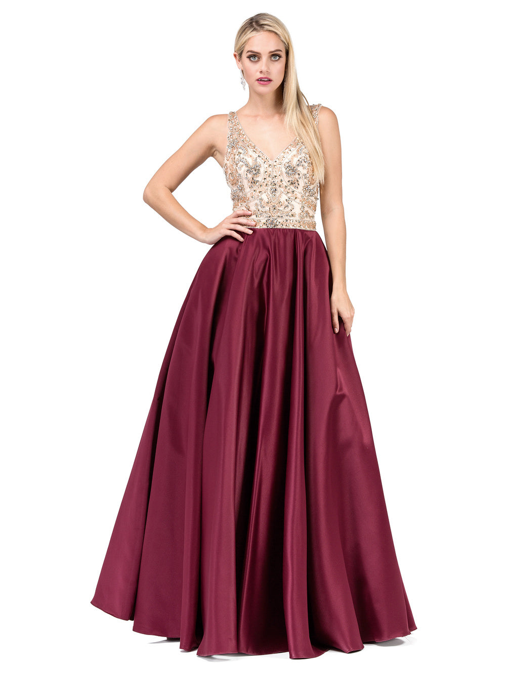 DQ 2416 - A-Line Prom Gown with Bead Embellished V-Neck Bodice & Satin Skirt - Diggz Prom