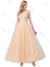Dancing Queen DQ 2511 - A-Line Appliqué V-Neck Bodice With Full tulle Skirt - Diggz Prom