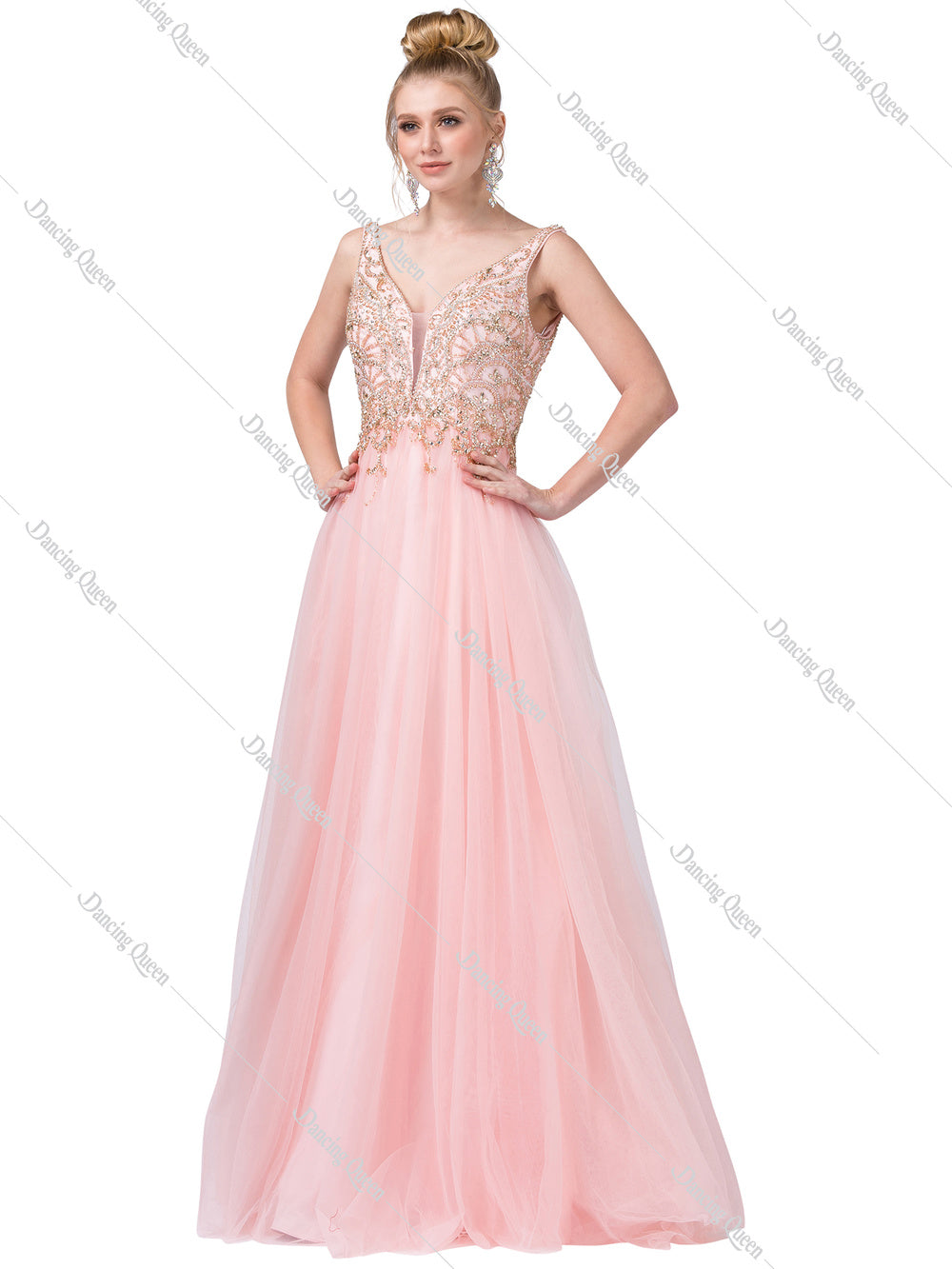 49785811e215 Dancing Queen DQ 2514 - Tulle Ball Gown with Bead Embellished Plunging Back  Bodice - Diggz