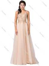 Dancing Queen DQ 2514 - A-Line Bead Embellished V-Neck & Plunging Back Tulle Ball Gown - Diggz Prom