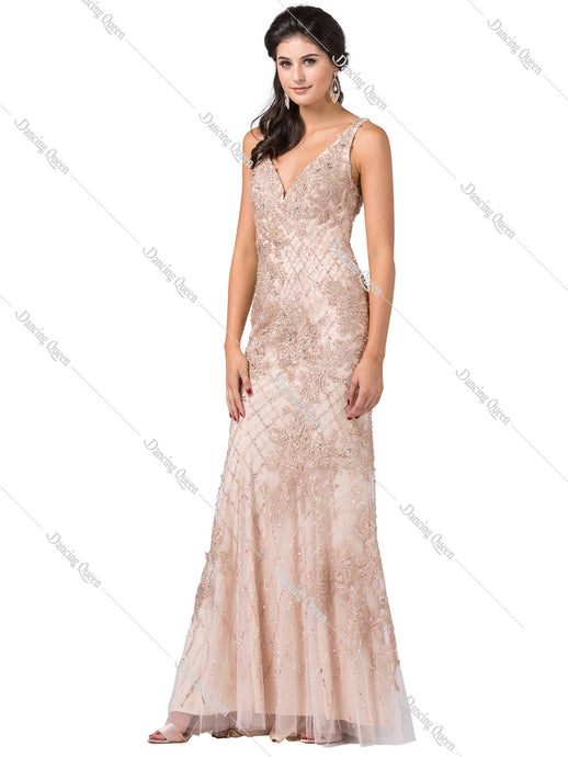 Dancing Queen DQ 2515 - Beaded Tulle Embellished Gown with V-Neck - Diggz Prom