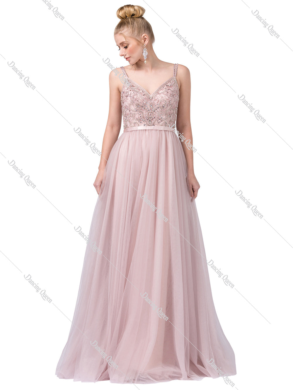 DQ 2519 - A-Line Bead Embellished V-neck Bodice with Tulle Skirt - Diggz Prom