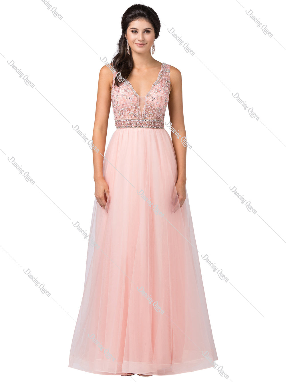 Dancing Queen DQ 2520 - A-line with Bead & Scalloped Trim V-neck and Full Tulle BallGown - Diggz Prom