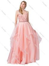 Dancing Queen DQ 2524 - Ballgown with Embellished Sweetheart bodice & Tiered Tulle Skirt - Diggz Prom