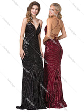 Dancing Queen DQ 2528 - Strappy Sequin Fit & Flare with Plunging V-neck & Lace Up Back - Diggz Prom