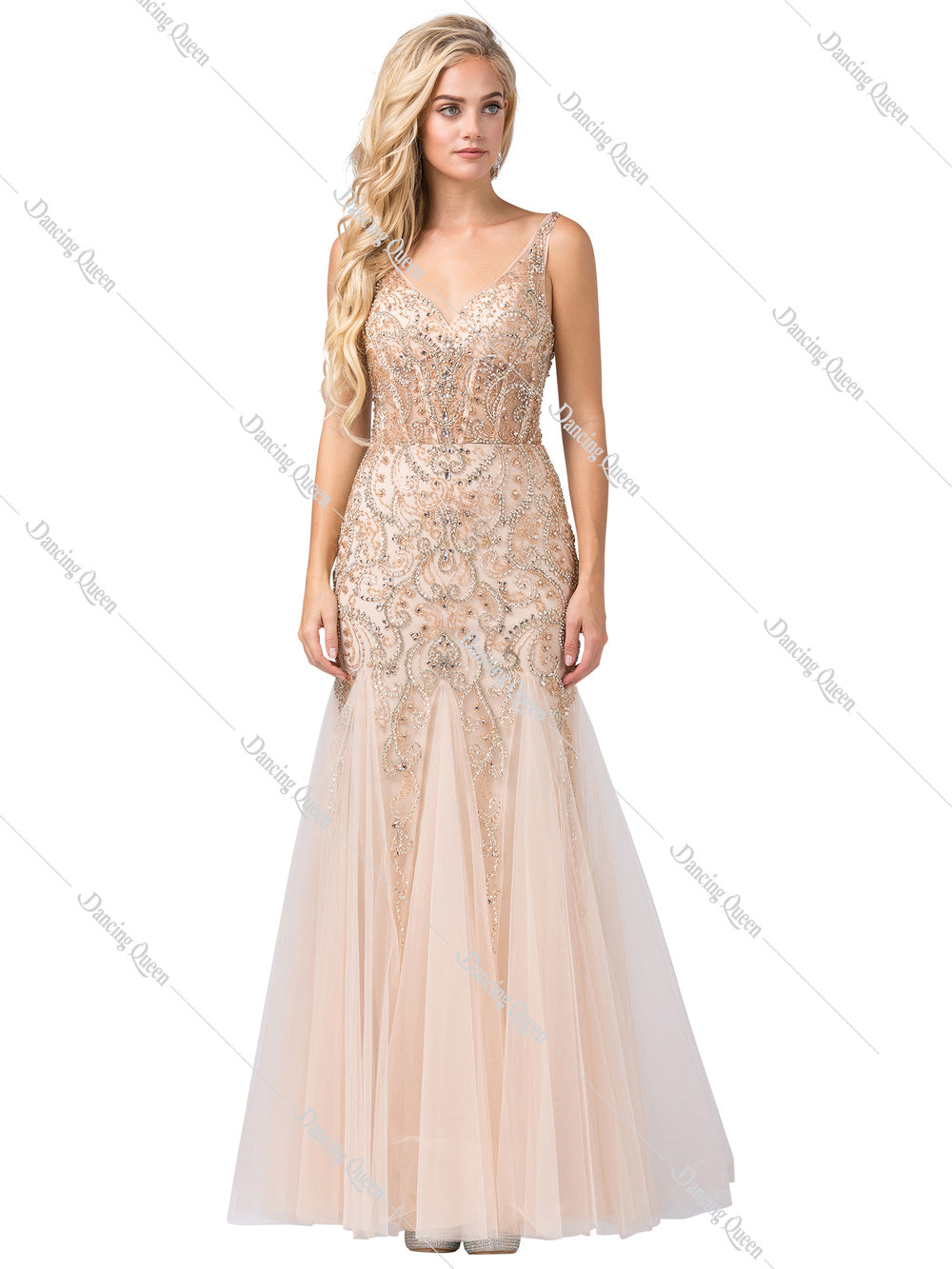 Dancing Queen DQ 2530 - Fully Beaded fit and flare V-Neck & Open back with Tulle Skirt - Diggz Prom