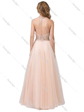 Dancing Queen DQ 2532 - A-Line Embellished bodice with open back Tulle ballgown - Diggz Prom