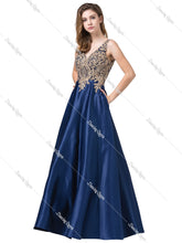 DQ 2533 - Gold Embellished Satin Ball Gown with Pockets - Diggz Prom