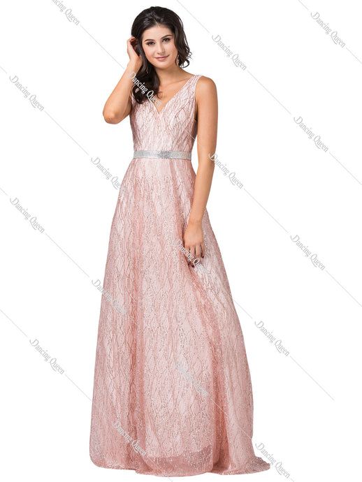 Dancing Queen DQ 2534 - Ballgown with glitter design, with belt - Diggz Prom