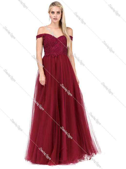 Dancing Queen DQ 2538 - Off shoulder, embellished bodice ballgown - Diggz Prom
