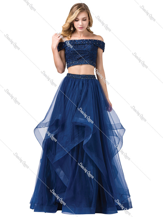 DQ 2545 - Two-piece Off the Shoulder Detailed bodice with Tiered Tulle Skirt & Beaded Waist - Diggz Prom