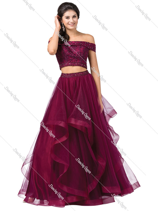 Dancing Queen DQ 2545 - Two-piece ballgown, embroidered/embellished top, layered tool bottom - Diggz Prom