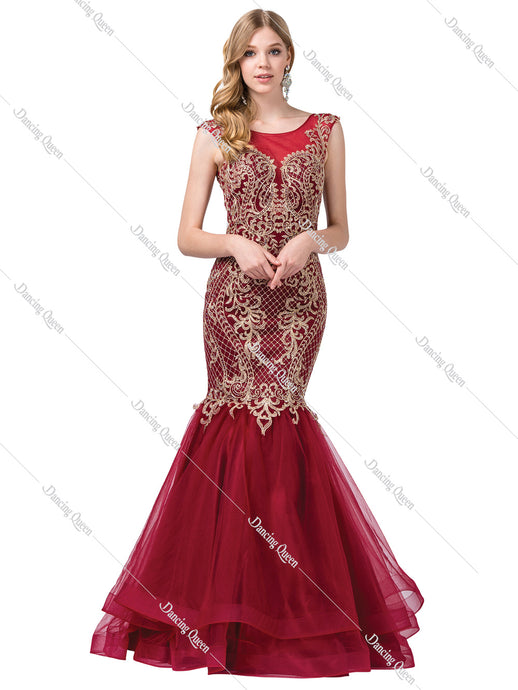 Dancing Queen DQ 2546 - Long Burgundy Mermaid Gown with Gold Embroidery Plunging Back & Tiered Tulle Skirt - Diggz Prom