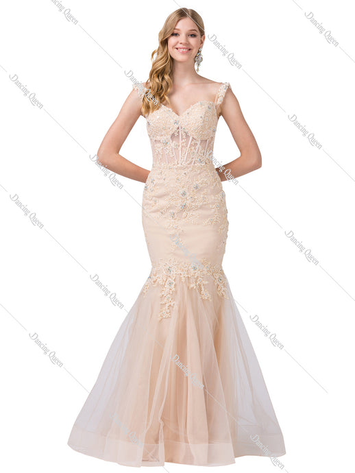 Dancing Queen DQ 2550 - Mermaid off shoulder embroidered gown - Diggz Prom