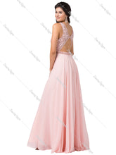 Dancing Queen DQ 2552 - A-Line Scallop trim Plunging V-Neck Beaded Belt Chiffon Skirt - Diggz Prom