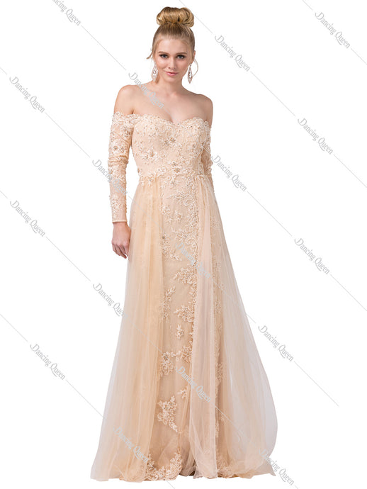 Dancing Queen DQ 2566 - Long sleeve off shoulder embroidered empire gown - Diggz Prom