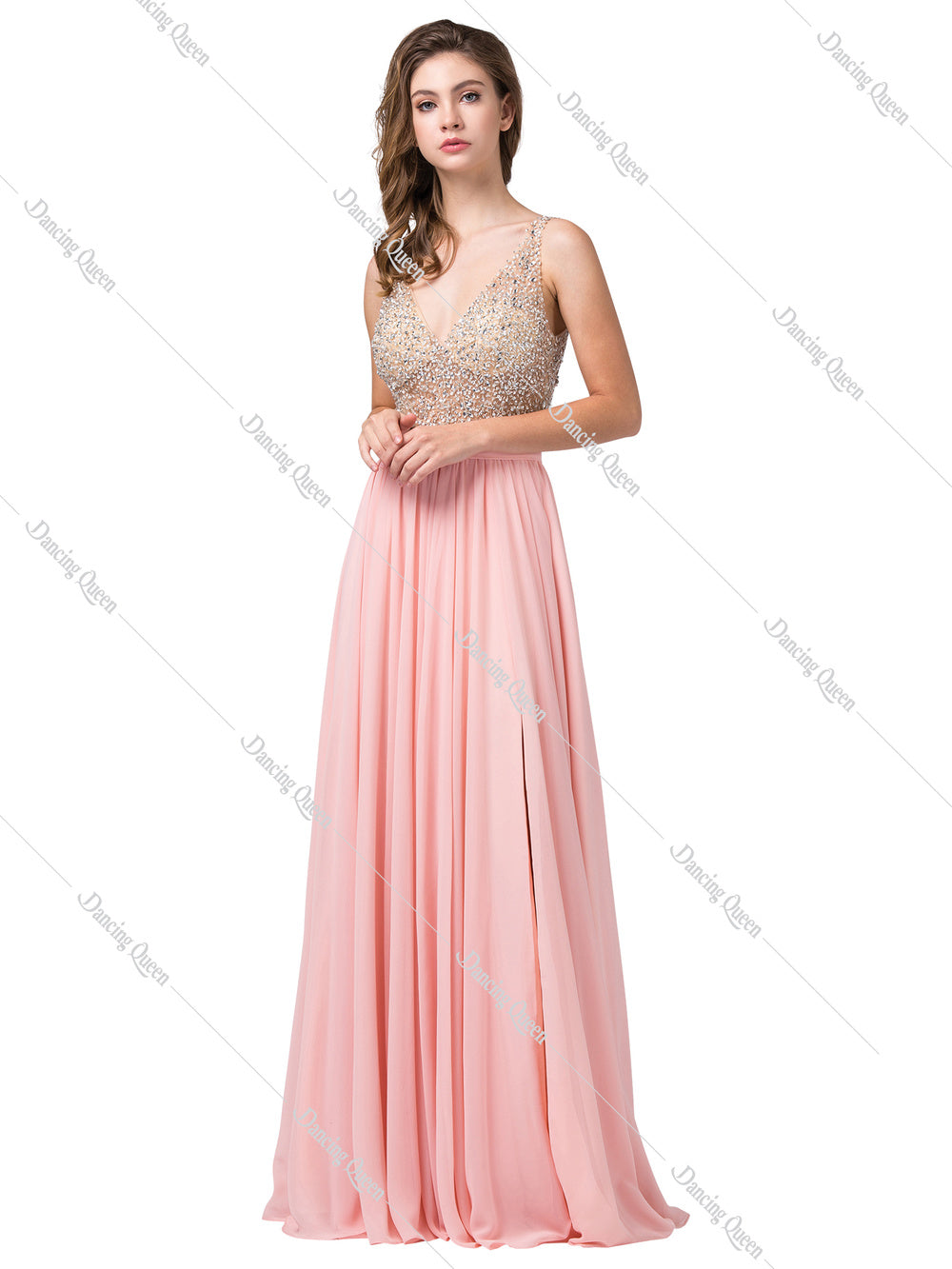 a6794e8685f Dancing Queen DQ 2569 - Long Flowy Illusion Beaded Bodice V- Neckline Prom  Dress ...