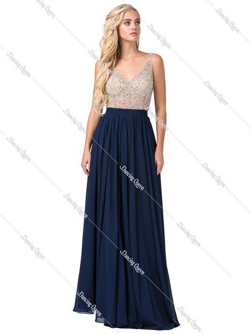 Dancing Queen DQ 2569 - Long Flowy Illusion Beaded Bodice V- Neckline Prom Dress - Diggz Prom