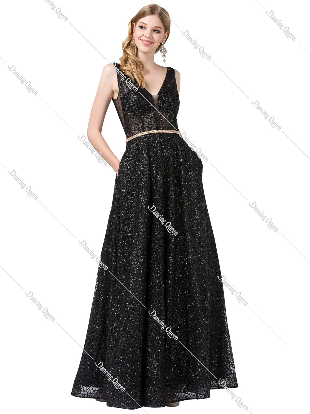 Dancing Queen DQ 2593 - Long Glittery A-Line Formal Gown with Plunging V-Neck & Rhinestone Embellished Accents - Diggz Prom