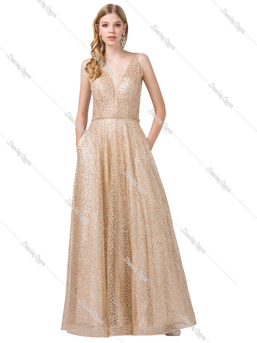 Dancing Queen DQ 2593 - Glitter embellished empire gown, v-neck, with jewled belt - Diggz Prom