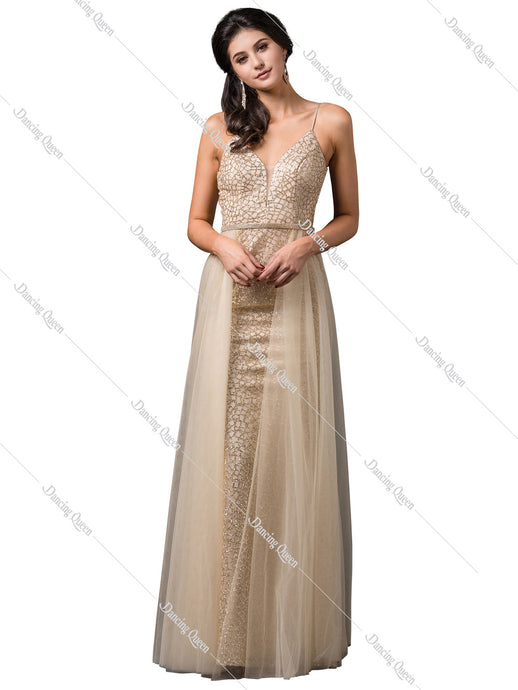Dancing Queen DQ 2595 - Glitter embellished empire gown with side tool - Diggz Prom