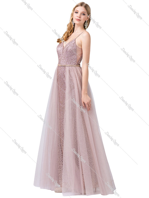 Dancing Queen DQ 2595 - Glittery A-Line with V-Neck & Tulle Over-Skirt & beaded belt - Diggz Prom