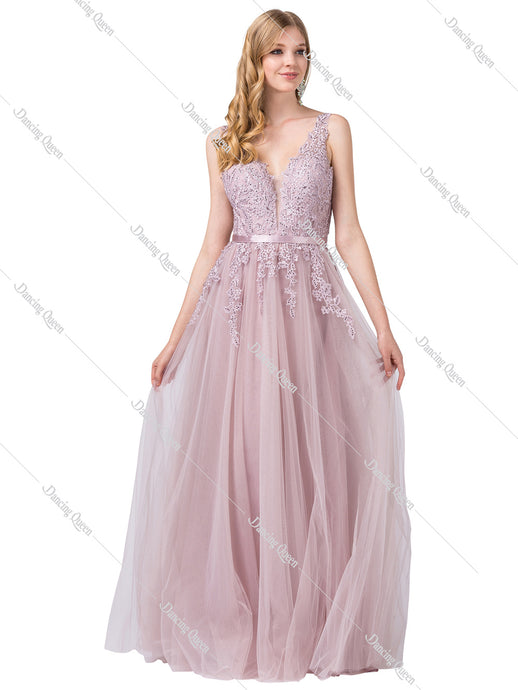 Dancing Queen DQ 2596 - Floral embroidered ballgown with satin belt and tool bottom - Diggz Prom