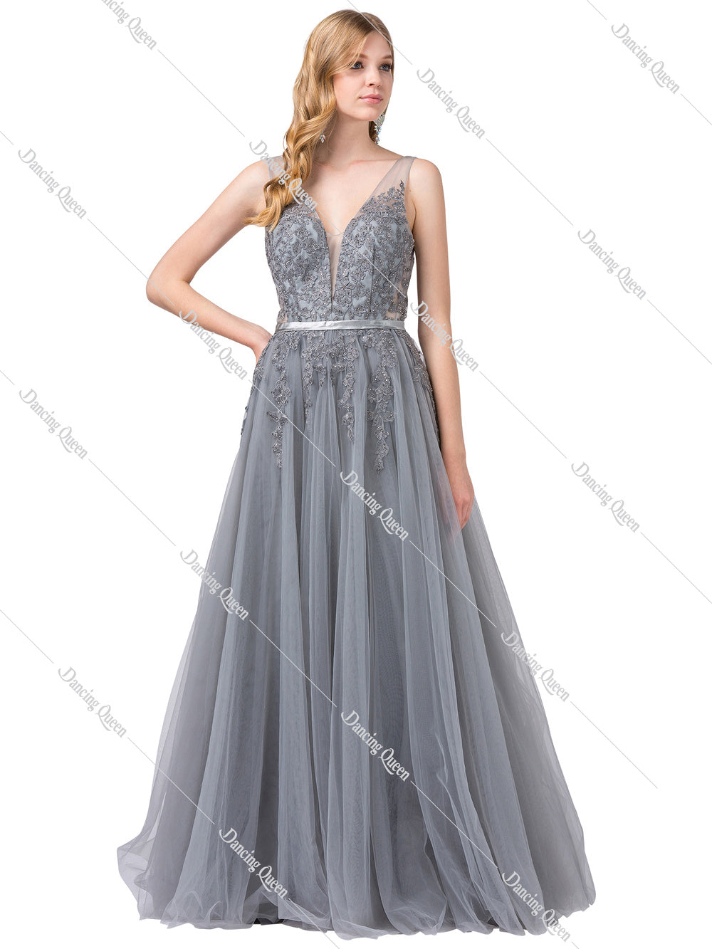 Dancing Queen DQ 2596 - A-line embroidered Bodice ballgown with satin belt and tulle Skirt - Diggz Prom