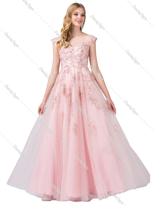 Dancing Queen DQ 2600 - Off shoulder, floral embroidered and tool ballgown - Diggz Prom