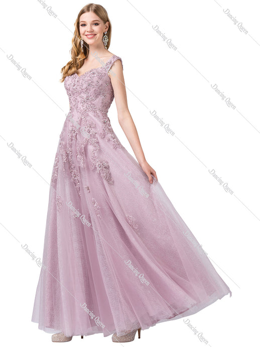 Dancing Queen DQ 2600 - Off the shoulder embroidered bodice & tulle Skirt ballgown - Diggz Prom