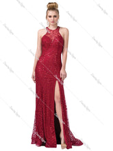 DQ 2618 - Fitted shimmery bead embellished v-neck with high leg slit - Diggz Prom