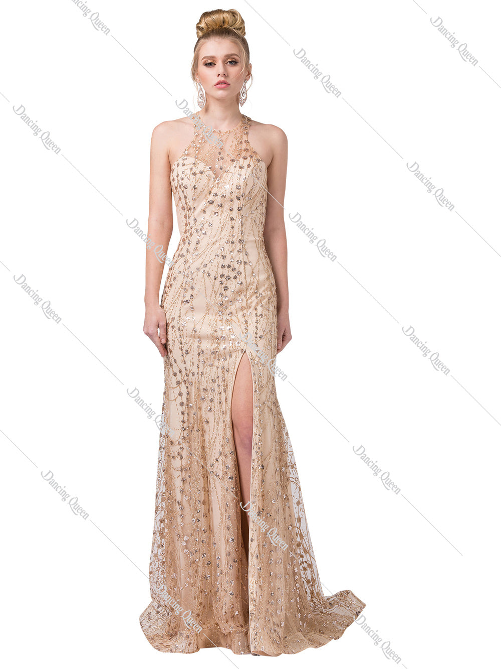 Dancing Queen DQ 2618 - Fitted shimmery bead embellished v-neck with high leg slit - Diggz Prom