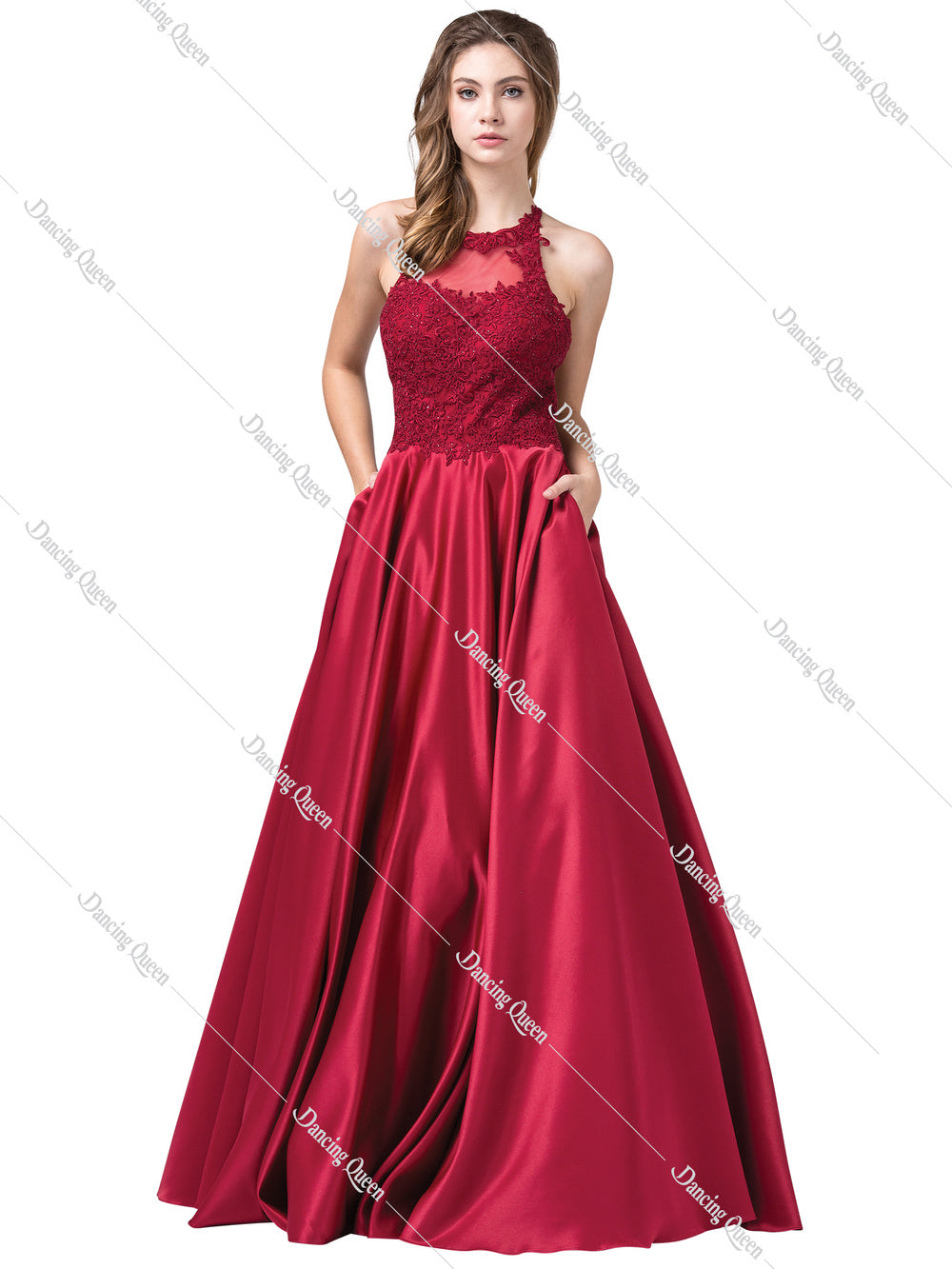 Dancing Queen DQ 2625 - Long Satin Halter Ball Gown with Lace Embroidered Top Spaghetti Straps & Pockets - Diggz Prom