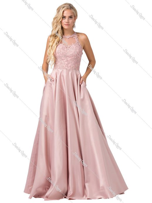 Dancing Queen DQ 2625 - Embroidered bodice satin ballgown with pockets - Diggz Prom