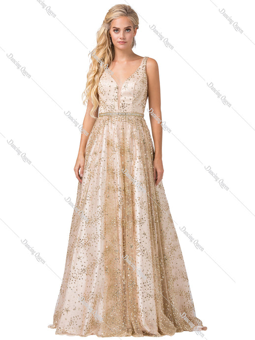 Dancing Queen DQ 2650 - V-neck ballgown with glitter designs within the gown - Diggz Prom
