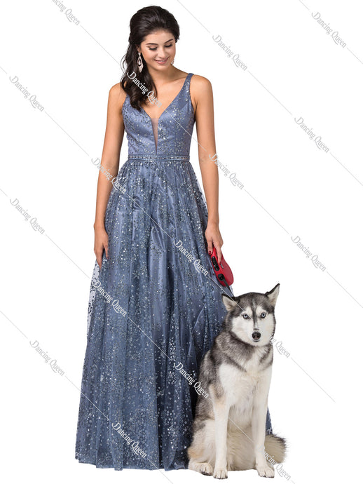 Dancing Queen DQ 2650 -A-Line  V-neck full glittered Ballgown with beaded belt - Diggz Prom