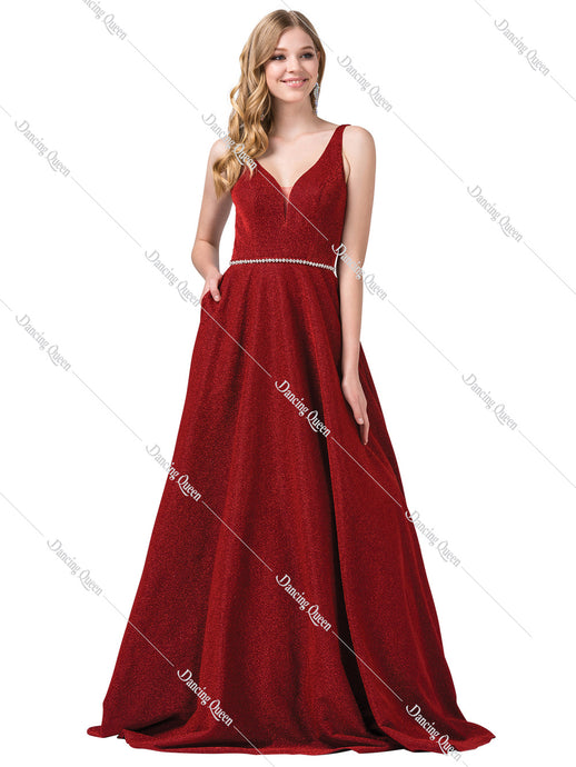 Dancing Queen DQ 2706 - Metallic v-neck ballgown with silver belt & pockets - Diggz Prom