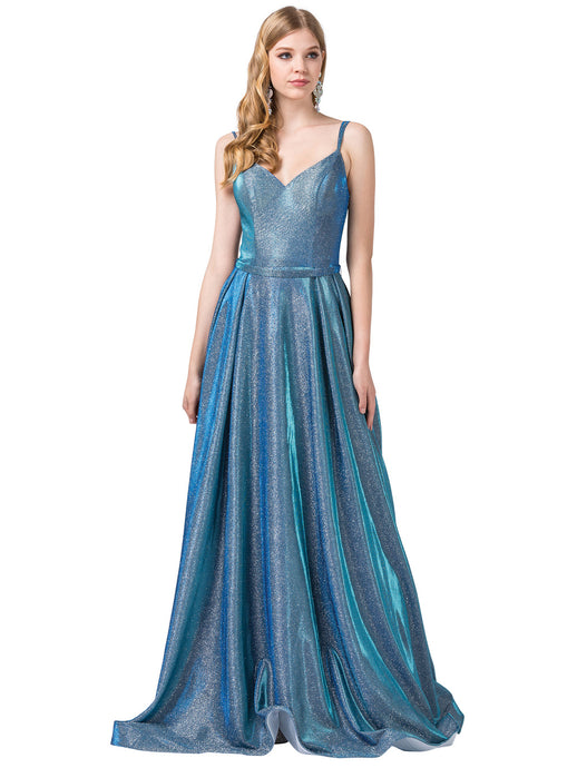 Dancing Queen DQ 2720 - Metallic Long A-Line Formal Prom Dress - Diggz Prom