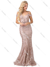 Dancing Queen DQ 2772- Mermaid Off the Shoulder Deep V-Neck Glitter Prom Gown with Beaded Belt - Diggz Prom