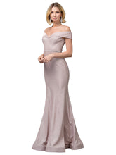 Dancing Queen DQ 2871-Mermaid Off the Shoulder Metallic Prom Gown with Beaded Belt - Diggz Prom