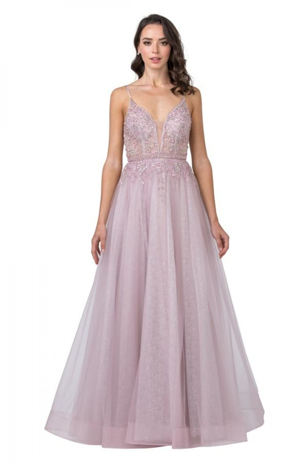 Aspeed Size Chart A AS 2431 - Glitter A-Line Prom Gown with Embellished V-Neck Bodice & Spaghetti Straps - Diggz Prom