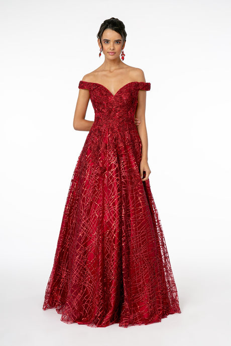 GLS GL 2944 - Glitter Off the Shoulder A-Line with Sweetheart Neck & Embellished Bodice - Diggz Prom