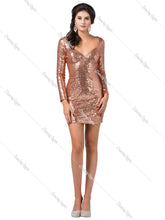 Dancing Queen DQ 3101 - Long Sleeve Fitted Sequin Homecoming Dress with Cut Out Back - Diggz Prom