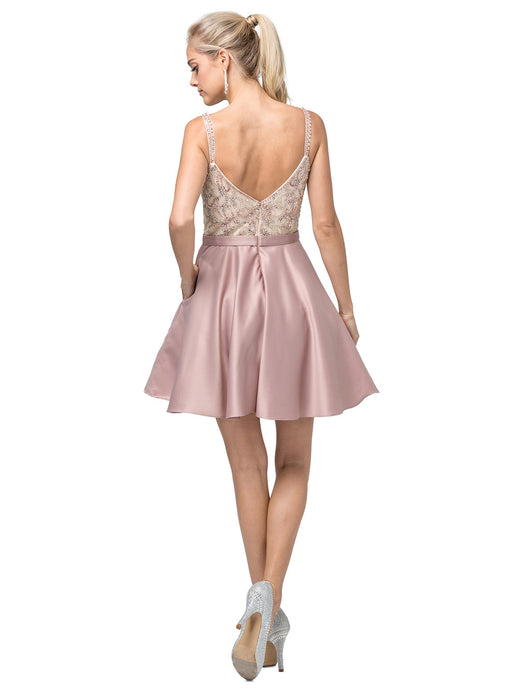 Dancing Queen DQ 3125 - Homecoming Dress With Beaded Bodice A- Line Skirt and Zip Up Back. - Diggz Prom