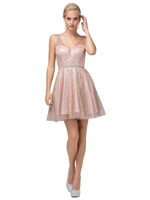 DQ 3126 - Glitter Bodice with Tulle Skirt Homecoming Dress & Rhinestone Belt